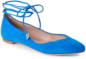 Aperlaï Blue Pointed Toe Ankle-Wrap Flats