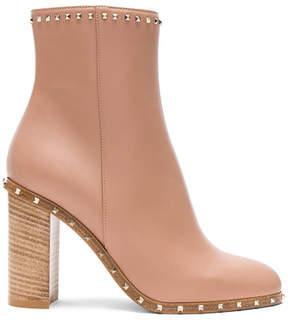 Valentino Rockstud Trim Leather Booties