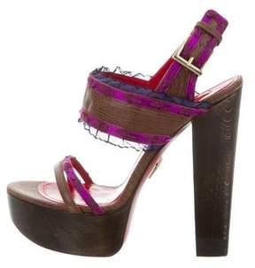 Cesare Paciotti Embellished Platform Sandals w/ Tags