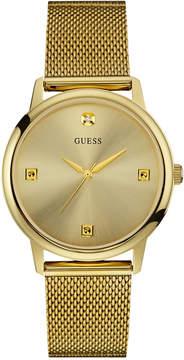 GUESS Men's Diamond Accent Gold-Tone Stainless Steel Mesh Bracelet Watch 40mm U0280G3