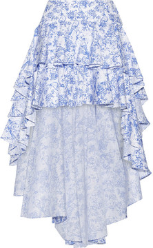 Caroline Constas Giulia Asymmetric Ruffled Cotton-blend Toile Skirt - Blue