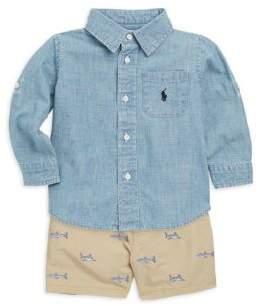 Ralph Lauren Baby's Three-Piece Chambray Button-Down Shirt, Shorts and Belt Set