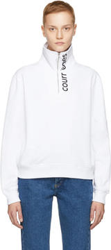 Courreges White Zip Neck Sweatshirt