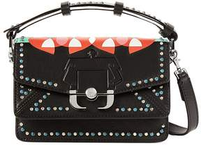 Paula Cademartori Twi Twi Love Stud-embellished Leather And Suede Shoulder Strap