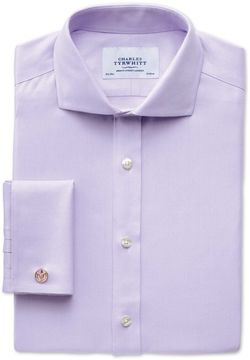 Charles Tyrwhitt Slim Fit Spread Collar Non-Iron Herringbone Lilac Cotton Dress Shirt French Cuff Size 16/38