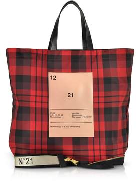 N°21 Red & Black Tartan Print Nylon and Leather Big Foldable Shopper