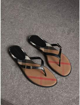 Burberry House Check and Patent Leather Sandals