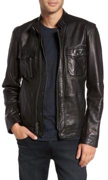 John Varvatos Men's Leather Zip Front Jacket