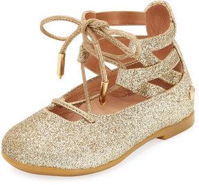 Aquazzura Belgravia Baby Glittered Ballerina Flat, Gold, Infant/Toddler