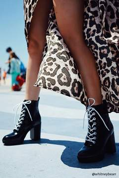 Forever 21 Faux Leather Stacked Heel Boots
