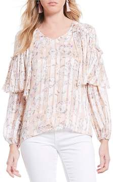 Chelsea & Violet Floral Print Lurex Stripe V-neck Ruffle Sleeve Blouse