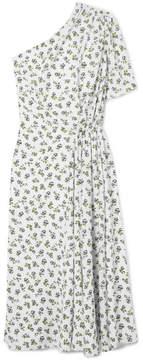 Emilia Wickstead Kyle One-shoulder Floral-print Crepe Midi Dress - White