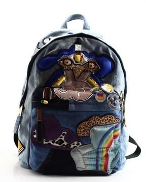 Marc Jacobs Blue Denim Julie Verhoeven Designer Backpack Bag - BLUES - STYLE