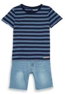 Hudson Little Boy's Two-Piece Striped Top and Shorts Set