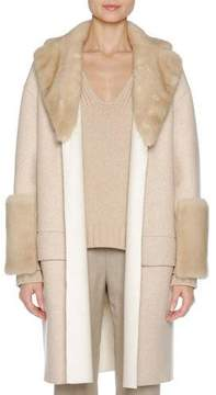 Agnona Relaxed Cashmere Coat with Mink Fur Trim