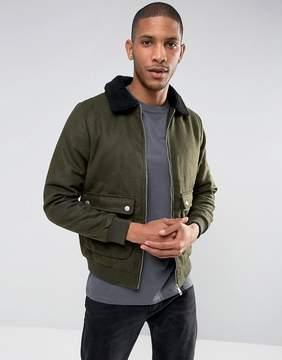 Brave Soul Wool Harrington with Fleece Collar