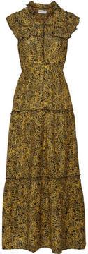 Apiece Apart Wild Reed Printed Cotton And Silk-blend Maxi Dress - Yellow