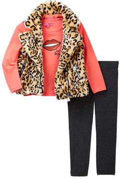 Betsey Johnson Lips Sequin Patch Tee, Leopard Print Faux Fur Moto Vest & Legging Set (Toddler Girls)