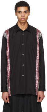 Comme des Garcons Black and Pink Sequin and Animal Print Shirt