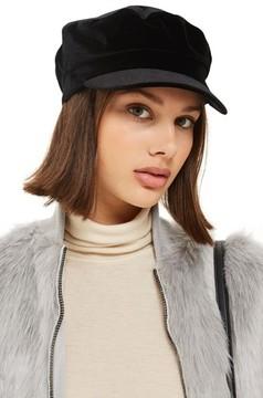 Topshop Women's Velvet Baker Hat - Black