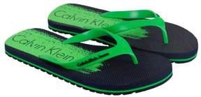 Calvin Klein Stewart Jelly Navy Fluorescent Green Mens Flip Flops Sandals
