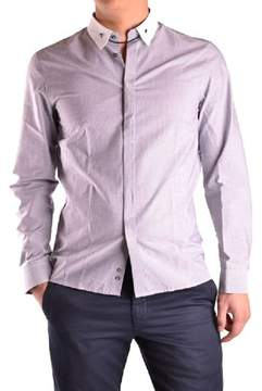 Richmond Men's White/purple Cotton Shirt.