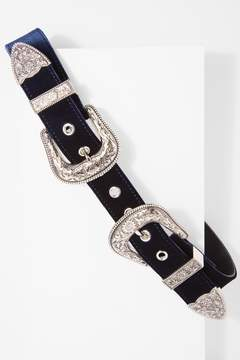 7 For All Mankind Bri Bri Velvet Belt In Navy And Silver