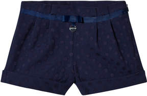 Mayoral Navy Jacquard Spot Shorts with Bow
