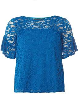Dorothy Perkins Blue Ruffle Lace T-Shirt