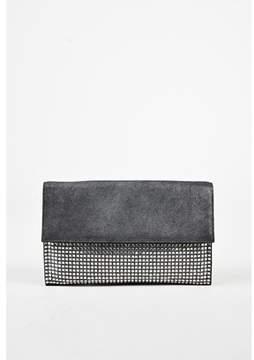 Balmain 1 Metallic Grey Leather Embellished pochette Easy Clutch