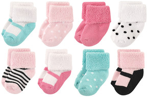 Luvable Friends Mint & Pink Mary Janes Eight-Pair Sock Set - Infant
