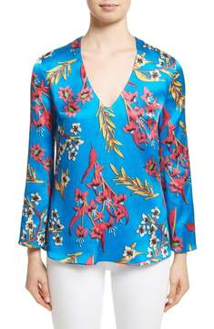 Etro Jungle Floral Print Silk Blouse