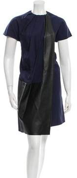 Celine Shift Vegan Leather-Accented Dress