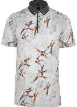 River Island Mens Light grey bird print slim fit polo shirt
