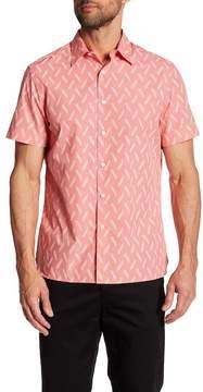 Perry Ellis Floral & Checker Print Short Sleeve Regular Fit Shirt