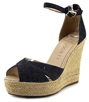 Sole Society Louanna Women Open Toe Canvas Blue Wedge Sandal.