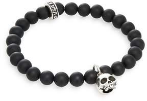 King Baby Studio Men's Black Onyx & Sterling Silver Beaded Skull Charm Bracelet