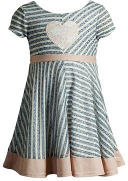Youngland Toddler Girl Lace Heart Applique Stripe Dress