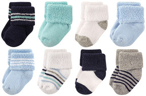 Luvable Friends Mint & Navy Stripes Eight-Pair Sock Set - Infant & Kids