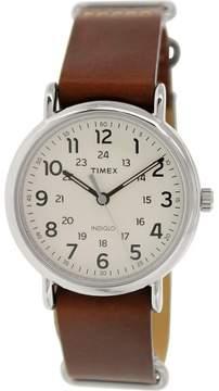 Timex Weekender 40 Watch, Brown Double-Layered Leather Slip-Thru Strap