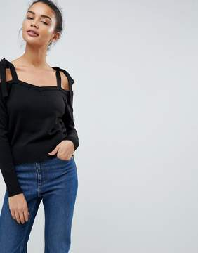 Fashion Union Knit Cold Shoulder Sweater With Tie Sleeve Detail