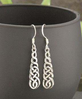 Celtic Sterling Silver Drop Earrings