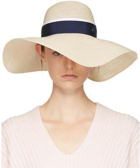 Maison Michel Beige and Navy Straw Blanche Hat