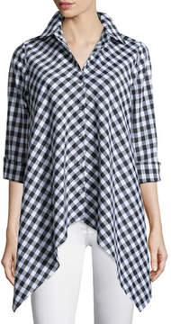 Go Silk Drama Gingham Handkerchief Shirt, Plus Size