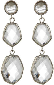Rivka Friedman Triple Dangle Deco Design Faceted Rock Crystal Earrings