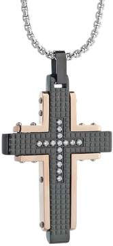 Lynx Men's Cubic Zirconia Tri-Tone Stainless Steel Cross Pendant