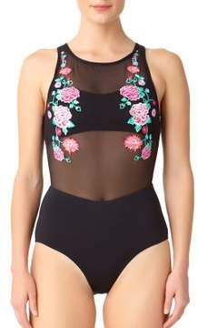 Anne Cole One-Piece Embroidered Swimsuit
