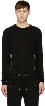 Balmain Black Drawstring Sweatshirt