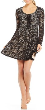 B. Darlin Long Sleeve Lace-Up Lace Fit-And-Flare Dress