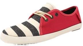 Vans Women's Tazie Stripes Red Ankle-High Canvas Flat Shoe - 5M